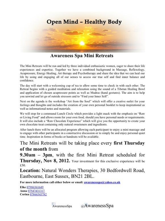 Awareness Spa Mini Retreat in November