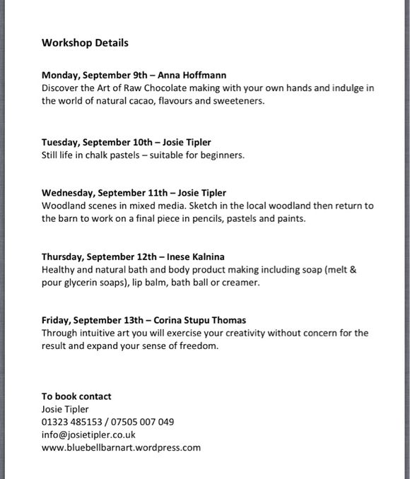 Art and workshops at the BlueBell Barn in Arlington in September 2013